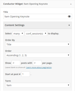 conductor widget content settings