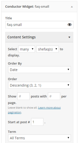 screenshot of small faq Conductor content setting area