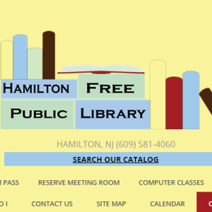 screen shot of hamilton public library website